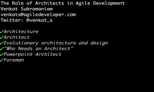 Role of architect in agile development